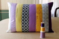 Purple, Grey, and Yellow Strip Pillow by maureencracknell, via Flickr