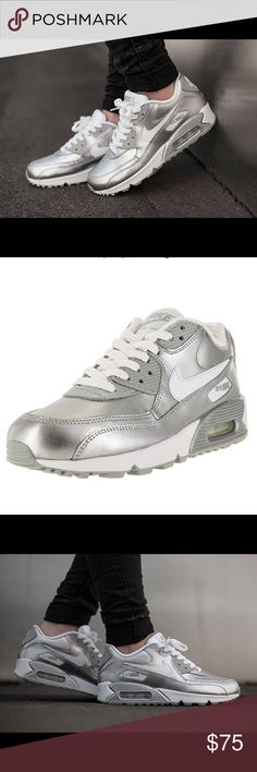 Coming Soon! Air Max 90 Premium Silver Available next week! Air Max 90 Premium in Silver. These are a Youth Size 6.5 that fit a Women's size 7 1/2. They are the same model women's sneaker that at a much better price (a secret for the ladies with smaller feet 😉) Incredibly cool! Nike Shoes Athletic Shoes