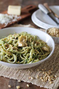 Turnip Pesto Pasta with Artichoke Hearts, Kale, and Pine Nuts ...