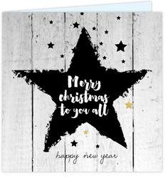 Hippe vierkante zakelijke nieuwjaarskaart met hout look, zwarte en goud gekleurde glitter sterren op de ondergrond, grote stoere ster en teksten in het hippe handlettering. Enveloppen los erbij te bestellen!