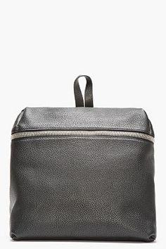 KARA Black Leather Box Backpack