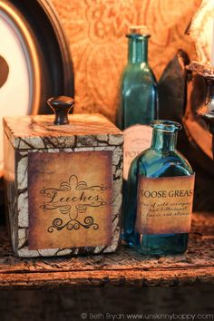 Outlander Party Ideas- old parchment labels for jars and bottles to look like Claire's Apothecary