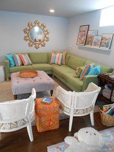 Aesthetic Oiseau: AO House Tour: Family Room; Colorful Family Space, Basement Renovation