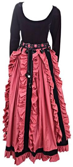 Ruched pink silk taffeta skirt with black velvet trim, black velvet blouse, and black silk cord belt with bakelite rings and heart charms, by Yves Saint Laurent, French, 1981.