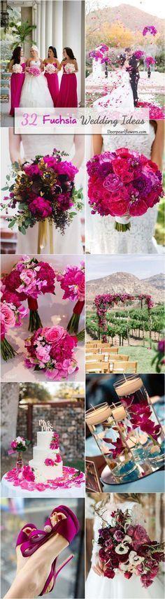 Fuchsia hot pink wedding color ideas / http://www.deerpearlflowers.com/fuchsia-hot-pink-wedding-color-ideas/