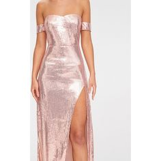 Rose Gold Sequin Bardot Maxi Dress ($75) ❤ liked on Polyvore featuring dresses, pink gold dress, sequin maxi dress, rose gold maxi dress, sequin dress and maxi dresses