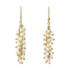 Pearl and Gold Fringe Earrings in color