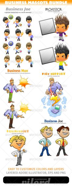 Business Mascots Bundle - http://graphicriver.net/item/business-mascots-bundle/3321554?ref=cruzine