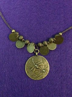 Dragonfly Medallion and Metal Coins Antique Brass by CraftyOlBats