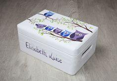 Kisten & Boxen - Spitzbub Erinnerungsbox Erinnerungskiste - Eulen - ein Designerstück von Spitzbub bei DaWanda