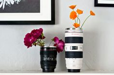 Camera lens vases — such a cute idea!