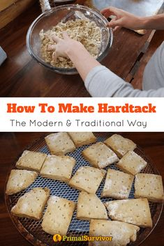 Modern Hardtack How to make Hardtack Biscuits. Try our traditional and modern recipes for this survival food, which was a food staple for soldiers during the civil war. Wilderness Survival, Survival Prepping, Survival Skills, Survival Gear, Survival Supplies, Survival Shelter, Survival Quotes, Survival Hacks, Homestead Survival