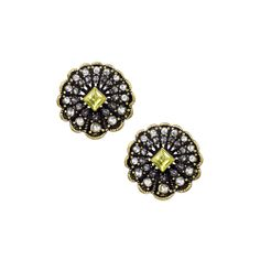 Scalloped Edged Button Earrings $32  Scallop-edged button earring with a princess-cut jonquil center stone surrounded by clear and black diamond crystals. Post closure with c+i bullet clutch. https://www.chloeandisabel.com/boutique/kathleencannon