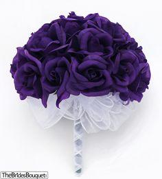 TheBridesBouquet.com - Purple Silk Rose Hand Tie (2 Dozen Roses) - Bridal Wedding Bouquet, $29.99 (http://www.thebridesbouquet.com/purple-silk-rose-hand-tie-2-dozen-roses-bridal-wedding-bouquet/)