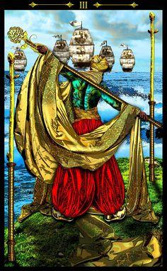 3 de bâtons - Tarot Illuminati par Erik Dunne