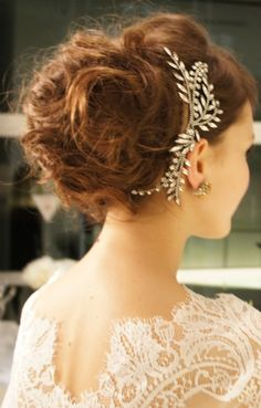 Lace dress and Jennifer Behr Crystal Laurel Comb :: updo :: curly hair :: large bun :: bun :: hair :: hairstyle :: inspiration :: bridal :: bride ::