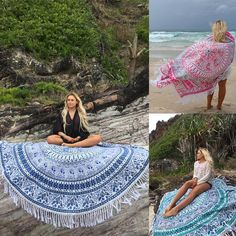 Large Microfiber Printed Round Beach Towels With Tassel