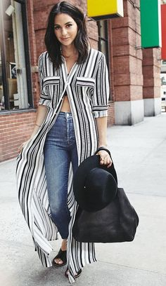 street style - street chic style - beach outfit - summer outfit - casual outfit - black and white striped shirt dress + high waisted skinny jeans + black flat sandals + black fedora + black tote + black tube top