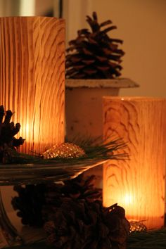 How to make beautiful faux bois candles --> http://blog.hgtvgardens.com/get-crafty-glow-it-up-with-faux-bois-candles/?soc=pinterest #holiday #diy #crafty