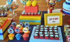 Beyblades inspired dessert table for boys