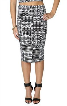 #Deb Shops                #Skirt                    #Black #White #Tribal #Print #Midi #Skirt           Black and White Tribal Print Midi Skirt                                       http://www.seapai.com/product.aspx?PID=1872651