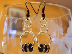Silver tone and Black dangle earring by gr8byz on Etsy, $9.00