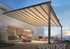 Pergotex II is a retractable pergola awning patio roof, at the push of a button the fabric opens out, or close when the weather gets bad Outdoor Decor, Retractable Awning, Glass Roof, Home, Seating Area, Pergola Attached To House, Outdoor Living