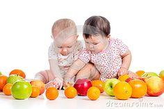 Funny babies eating healthy food fruits!