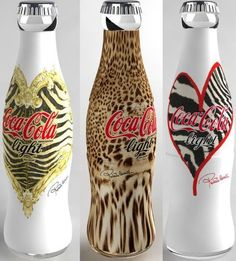 Coca-Cola Light (Diet Coke) by Roberto Cavalli Coca Cola Vintage, Vintage Ads, Coca Cola Light, Coca Cola Bottles, Coke Cans, Wine Bottles, Soda Bottles, Roberto Cavalli, Sodas