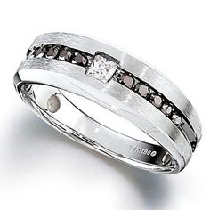 Men's 1/2 CT. T.W. Enhanced Black and White Diamond Ring in Sterling Silver - Zales