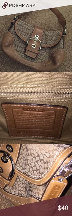 Small Coach Shoulder Bag Brown leather with canvas coach monogram and large buckle closure Coach Bags Shoulder Bags
