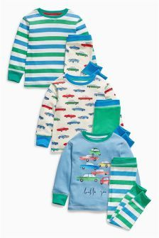 Next Multi Car And Stripe Pyjamas Three pack (9mths-8yrs) £25