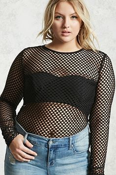 Forever - A stretch fishnet knit bodysuit featuring a round neckline, a back zipper, long sleeves, an allover open mesh coverage, and a dual snap-button closure. Casual Goth, Fishnet Bodysuit, Trendy Plus Size Fashion, Forever 21 Plus, Plus Size Kleidung, All Black Outfit, Badass Women, Plus Size Outfits, What To Wear