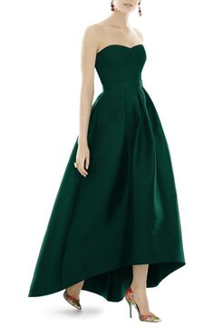 Alfred Sung Strapless High/Low Sateen Twill Gown available at Black Strapless Dress, Strapless Dress Formal, Navy Blue Bridesmaid Dresses, Alfred Sung Bridesmaid Dresses, Moda Casual, Plus Dresses, Fitted Dresses, Tie Dress, Gown Dress