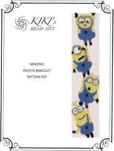 Pattern peyote bracelet  Minions despicable me  door KikisBeadArt