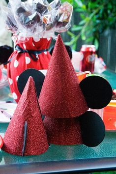 DIY Mickey Birthday Hats - but would make a cute pinata - @Crystal Dolan