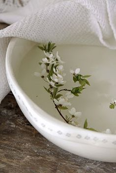 white bowl with little wild flowers