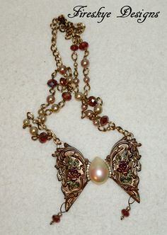 December Challenge - Metal~Crystal~Pearls  Elegant Pearl & Crystal accented Brass by FireskyeDesigns on Etsy