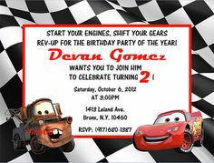 Cars 2 birthday party invitation wwwfacebookcomkreationsbykristy