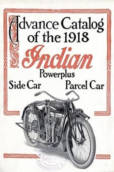 Click for more colors of 1918 Indian Motorcycle Catalog Sign Motorcycle Signs