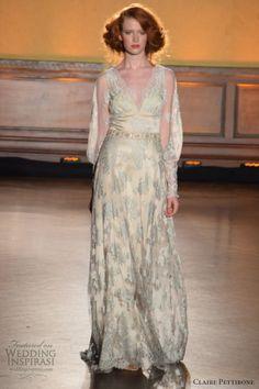 claire pettibone fall 2016 wedding dresses bridal week runway fashion long sleeves v neck blue embroidery lace gorgeous sheath dress