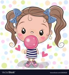 Cute Cartoon Girl with bubble gum. Cute Cartoon Girl with pink bubble gum vector illustration Cartoon Cartoon, Cute Cartoon Girl, Cartoon Drawings, Cute Drawings, Cute Images, Cute Pictures, Beautiful Pictures, Cartoon Mignon, Cute Girl Drawing
