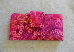 Fabric Wallet  Pink Floral Batik by BonniesSewCrazy on Etsy, $12.00.  You will not be disappointed with Bonnie.  She can pretty much do it all!