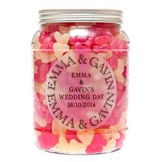 Giant candy jars filled with gorgeous yummy sweets.  Each jar is personalised with your name, date and occasion.  These are great to put on your guests tables for everyone to enjoy.  £15.99 each from the Fuschia boutique at www.fuschiadesigns.co.uk.