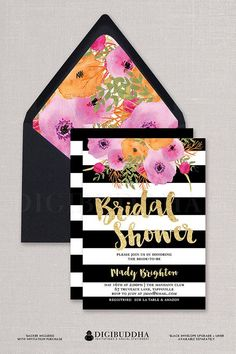 """Black & White Bridal Shower Invitation with boho chic watercolor flowers, gold glitter and Kate Spade inspired black and white stripes.  """"Mady"""" style, available at digibuddha.com"""