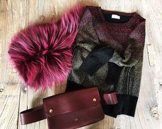 Saks Potts fur scarf, Dries Van Noten at Holly Golightly knit, Céline Bumbag