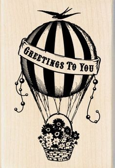 Inkadinkado® Hot Air Balloon Greetings Wood Stamp, large