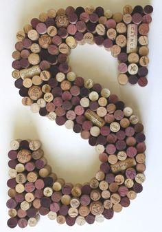 Letter S Wine Cork Wall Art.  Monogram Wine cork by AnneliseDay, $149.00