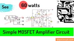 First Simple MOSFET Amplifier Circuit using 2SK134 & 2SJ49 | ElecCircuit Common Core Science, Electronics Projects, Circuits, Simple