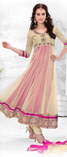 Light Beige and #Pink Net #Churidar Kameez